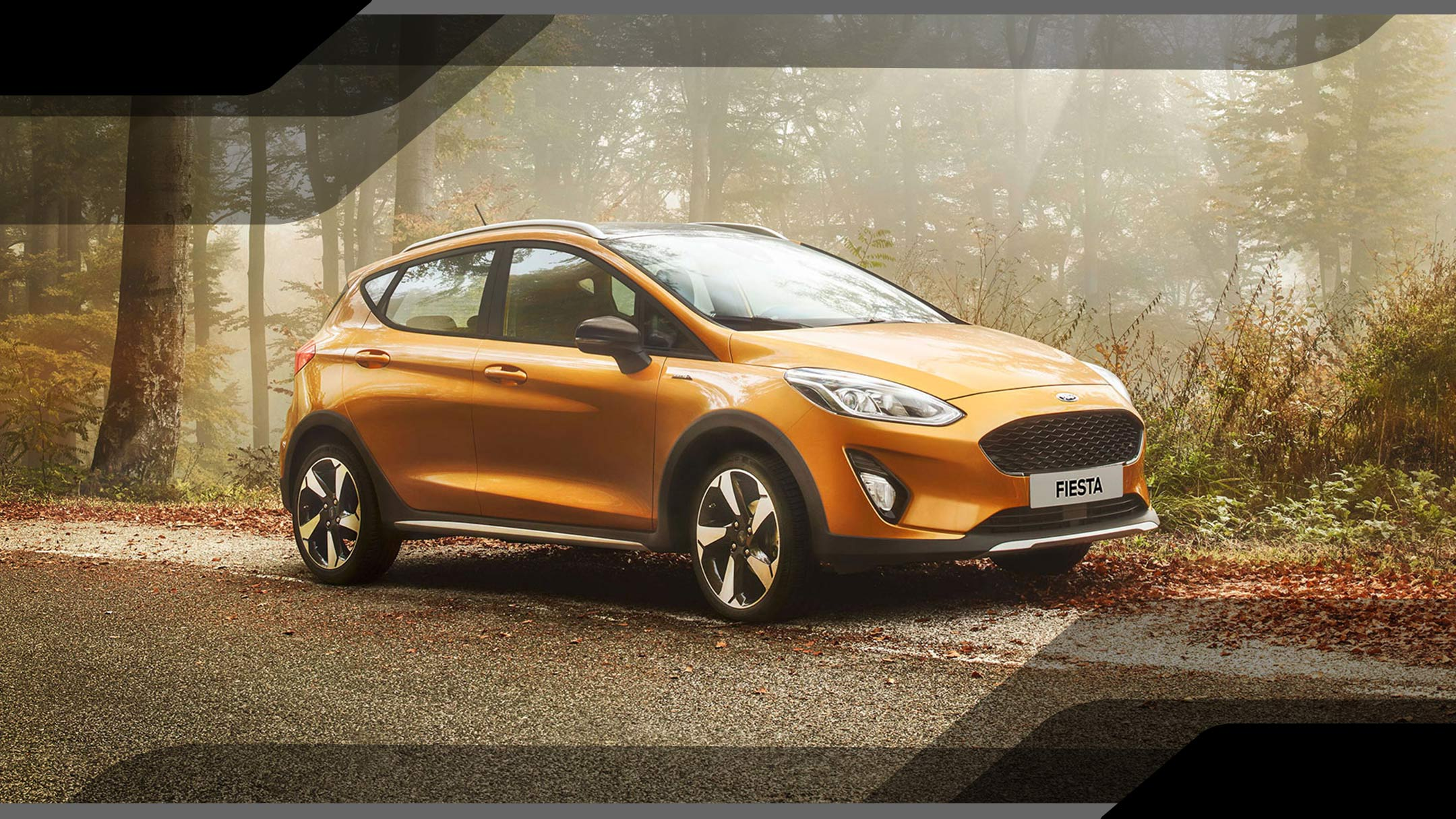 Gold Ford Fiesta Active in forest
